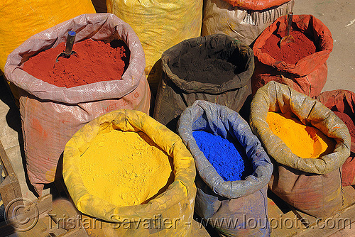 pigments powder bags, bags, color dyes, coloring, istanbul, paint dyes, pigments, powder, street market
