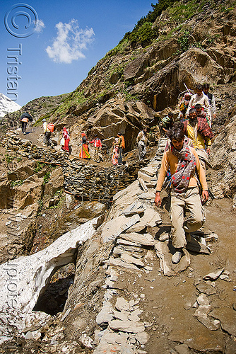 pilgrims on trail - amarnath yatra (pilgrimage) - kashmir, amarnath yatra, hiking, hindu pilgrimage, india, kashmir, mountain trail, mountains, pilgrims, snow, trekking, walking