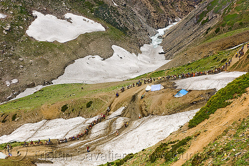 pilgrims on trail - amarnath yatra (pilgrimage) - kashmir, amarnath yatra, hiking, hindu pilgrimage, india, kashmir, mountain trail, mountains, pilgrims, snow patches, trekking, valley