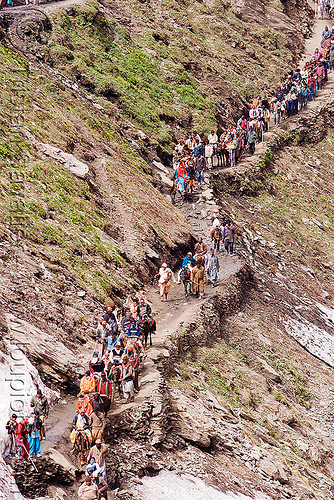 pilgrims on trail - amarnath yatra (pilgrimage) - kashmir, amarnath yatra, hiking, hindu pilgrimage, india, kashmir, mountain trail, mountains, pilgrims, trekking