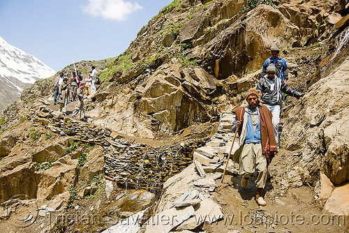 pilgrims on trail - amarnath yatra (pilgrimage) - kashmir, amarnath yatra, hiking canes, hindu pilgrimage, india, kashmir, mountain trail, mountains, pilgrims, trekking, walking sticks
