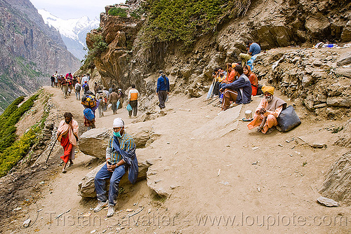 pilgrims resting on trail - amarnath yatra (pilgrimage) - kashmir, amarnath yatra, hiking, hindu pilgrimage, india, kashmir, mountain trail, mountains, pilgrims, resting, trekking