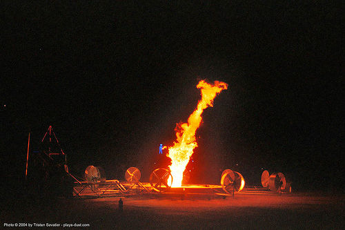 pillar of fire  by nate smith - burning-man 2003, art, burn, burning man, fire vortex, flames, nate smith, night, pillar of fire
