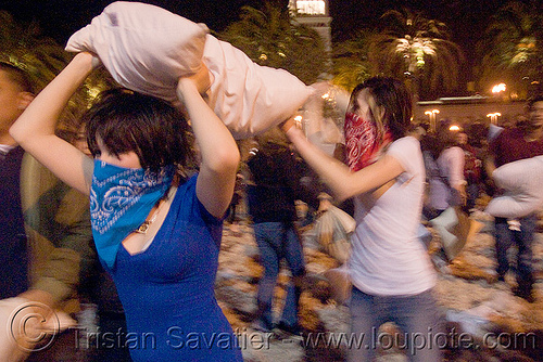 pillow attack - the blue and red bandana girls - the great san francisco pillow fight 2009 - olivia, bandana, down feathers, night, olivia, pillows, women, world pillow fight day