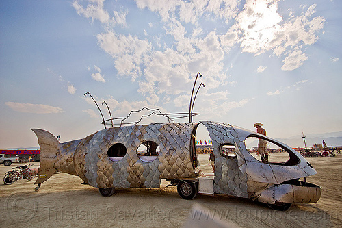 pilot fish art car - burning man 2013, burning man, dr harry adelson, pilot fish art car