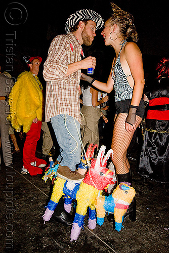 piñata costume - ghostship halloween party on treasure island (san francisco), costume, donkey, ghostship 2009, halloween, horse-riding, pinata, piñata, rave party, space cowboys, woman