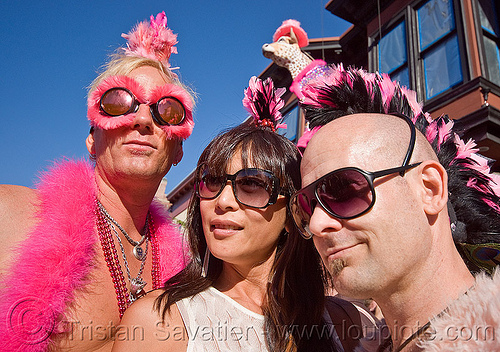 pink costumes, costumes, cow, folsom street fair, men, pink, three, woman