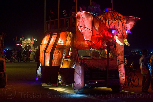 pink elephant art car - burning man 2012, art car, beau le'phant, glowing, night, pink elephant