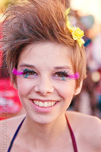 pink eyelashes extensions - ayla degrasso, ayla, burning man decompression, eyelashes extensions, woman