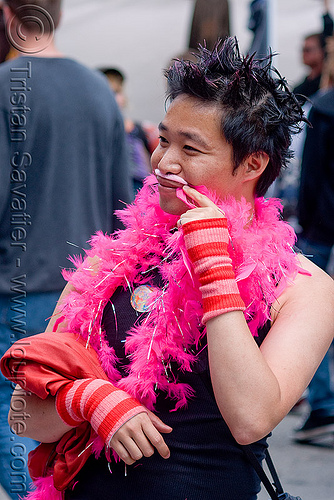 pink feather boa (san francisco), fake moustache, fake mustache, false moustache, false mustache, man, pink feather boa