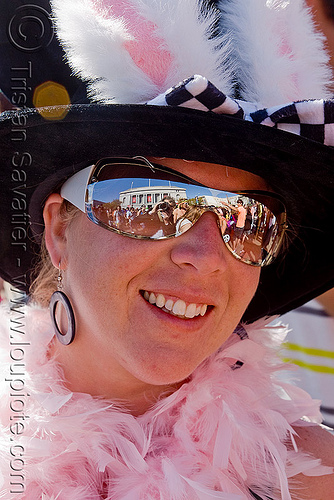 pink feathers and bunny ears, bunny ears, feathers, festival, love fest, lovevolution, pink, reflection, sunglasses, woman