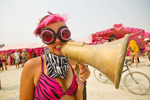 pink girl with bullhorn - burning man 2013, bullhorn, burning man, goggles, pink heart camp, woman