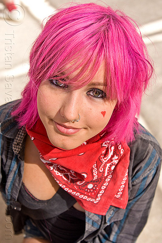 pink hair, bandana, burning man, chloe, chloë, green eyed, green eyes, nose piercing, nose ring, nostril piercing, pink hair, red, woman