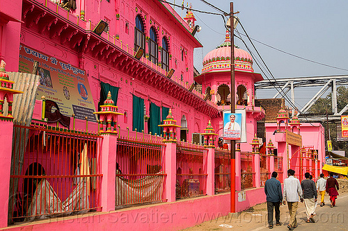 pink temple - daraganj (india), architecture, building, daraganj, hindu pilgrimage, hindu temple, hinduism, india, maha kumbh mela, pink, walking