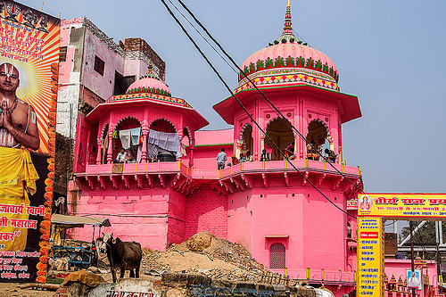 pink temple in daraganj (india), architecture, building, hindu, hindu temple, hinduism, kumbh mela, maha kumbh mela, people, street, towers