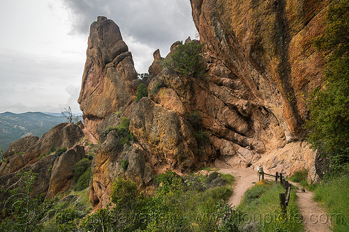 pinnacles national park (california) - juniper canyon trail, cliff, hiking, pinnacles national park, rock formations, trail, woman
