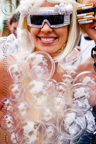 plastic bubbles costume - woman, bay to breakers, blastic bubbles, blonde, bubble costume, fashion, festival, footrace, lady gaga, novelty sunglasses, street party, transparent plastic balls, woman