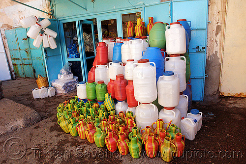 plastic jars shop, kurdistan, mardin, market, street