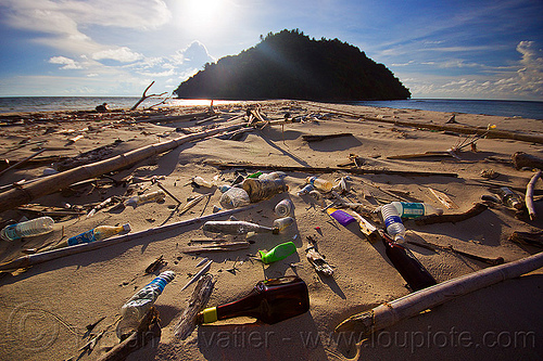 plastic trash on beach in borneo, bottles, environment, garbage, islet, kelambu beach, kelambu island, kelambu tombolo, ocean, peninsula, plastic trash, pollution, rain forest, rubbish, sand, sea, seashore, shoal, shore, tidal sandbar, tied island
