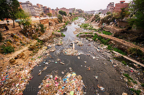 plastic trash pollution in the bishnumati river in kathmandu (nepal), bishnumati river, environment, garbage, kathmandu, plastic trash, pollution, rubbish, water