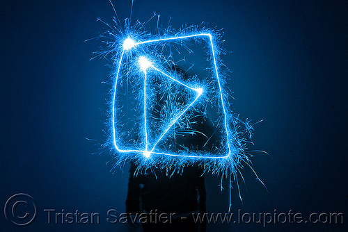 play button - light painting with a blue sparkler, blue, dark, icon, light drawing, light painting, play button, sarah, silhouette, sparklers, sparkles, symbol