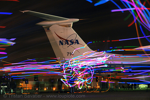 playa flies at moffett field, art, chinchilla camp, glowing, led lights, long exposure, michael brown, moffett field, nasa ames research center, nasa logo, playa flies, yurisnight