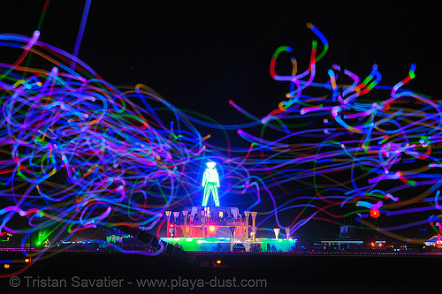 playa flies in front of the man - burning-man 2006, art, burning man, chinchilla camp, glowing, led lights, michael brown, night, playa flies