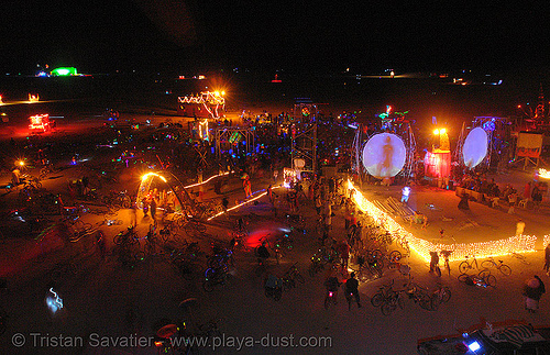 playa from above - burning-man 2006, art, burning man, fire, flames, night