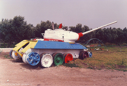 playground in israel - T-34 tank, army tank, colorful, gun, israel, military, playground, rainbow colors, russian, sovietic, t-34 tank