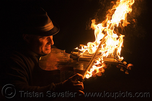 playing fire violin, david shuttleworth, fire performer, fire violin, firish, man, night, playing, violinist