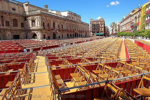 plaza de san francisco - sevilla, andalucía, chairs, easter, parade, plaza de san francisco, religion, semana santa, sevilla