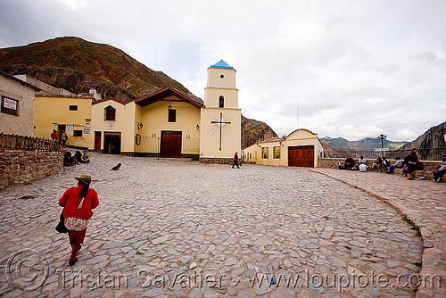 iruya (argentina), church, cobblestones, hat, indigenous, iruya, noroeste argentino, plaza, quebrada de humahuaca, quechua, red, village, woman