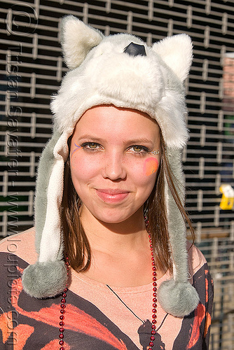 plush headdress with pom poms, headdress, how weird festival, plush, pom-poms, pom-pons, woman