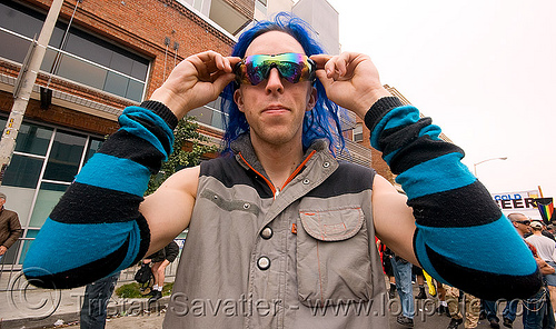 poi toy with blue sunglasses - dore alley fair (san francisco), blue, man, poi toy, ray-ban, sunglasses