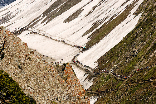 ponies and pilgrims on the trail - amarnath yatra (pilgrimage) - kashmir, amarnath yatra, caravan, glacier, hiking, hindu pilgrimage, horses, india, kashmir, kashmiris, mountain trail, mountains, pilgrims, ponies, snow, trekking