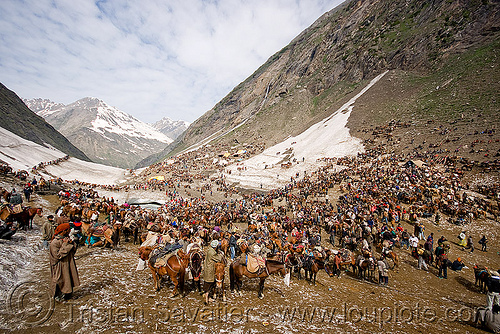 ponies and porters - amarnath yatra (pilgrimage) - kashmir, amarnath yatra, crowd, hiking, hindu pilgrimage, horses, india, kashmir, kashmiris, mountains, pilgrims, ponies, pony station, snow, trekking, valley