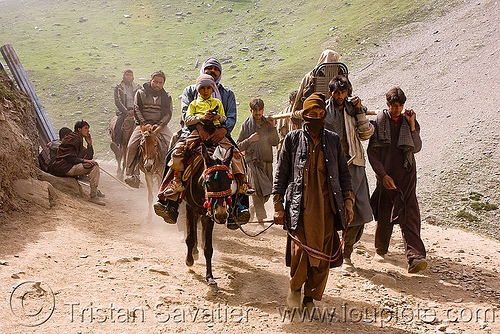 ponies, dandis and pilgrims on the trail - amarnath yatra (pilgrimage) - kashmir, amarnath yatra, caravan, dandis, dandy, dolis, hiking, hindu pilgrimage, horse-riding, horseback riding, horses, india, kashmir, kashmiris, mountain trail, mountains, pilgrims, ponies, porters, trekking, wallahs