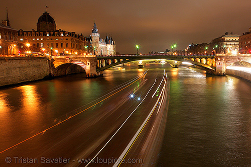 pont notre-dame (paris), bridge, long exposure, night, paris, pont notre-dame, river, seine, water