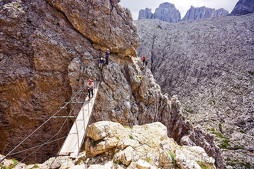 ponte tridentina - footbridge, alps, bridge, catwalk, chasm, cliff, climbers, climbing, climbing harness, crossing bridge, dolomites, dolomiti, ferrata, ferrata tridentina, mountain climbing, mountaineer, mountaineering, mountains, people, rock climbing, suspension bridge, vertical, via ferrata, via ferrata brigata tridentina