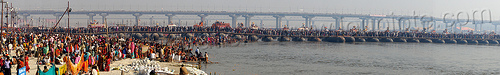 pontoon floating bridge over ganges river - kumbh mela (india), crowd, floating bridge, ganga, ganges river, hindu pilgrimage, hinduism, india, kumbh maha snan, maha kumbh mela, mauni amavasya, metal tanks, panorama, pontoon bridge