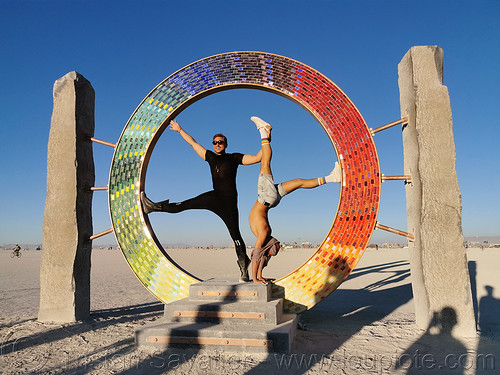 portal - burning man 2019, art city monsters, art installation, burning man, circle, david oliver, men, portal, ring, sculpture