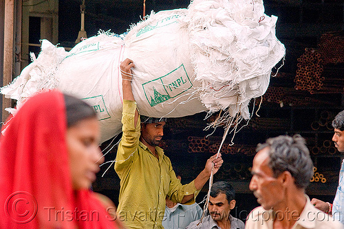 porter carrying a bundle of bags - delhi (india), bags, bearer, carrying on the head, delhi, freight, india, load, man, porter, wallah