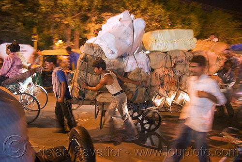 porters carrying heavy load of freight - delhi (india), bearer, cart, delhi, freight, load, men, night, porter, street, wallah