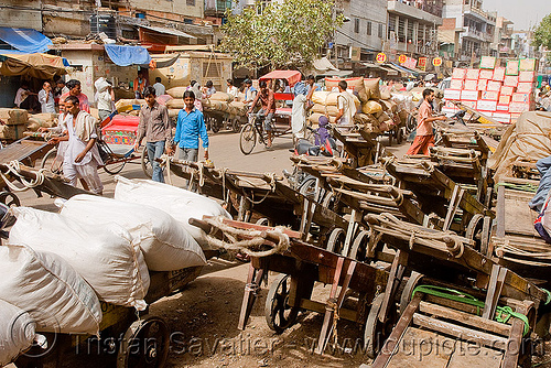 porters - delhi (india), bearers, men, porters, street, wallahs, wooden carts