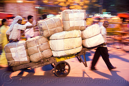 porters with heavy load of freight - delhi (india), bearers, cart, delhi, freight, heavy, load, men, night, porters, street, wallahs