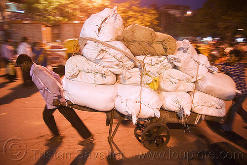 porters with heavy load of freight - delhi (india), bearers, cart, delhi, freight, heavy, load, man, night, people, porters, street, wallahs