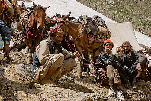 porters with their ponies - amarnath yatra (pilgrimage) - kashmir, amarnath yatra, glacier, horses, kashmir, kashmiris, men, mountain trail, mountains, pilgrimage, pilgrims, ponies, porters, snow, trekking, wallahs, yatris, अमरनाथ गुफा