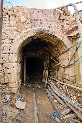 potosi mine entrance - adit, adit, bocamina, cerro rico, door, entrance, gate, grid, masonry, mina candelaria, mine, mining, pipes, potosí, rails, tunnel, vault