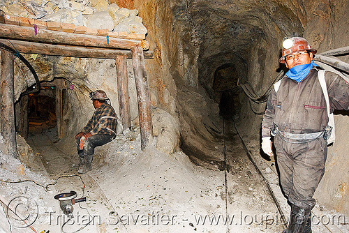 potosi mine tunnels, adit, beams, bolivia, cerro rico, men, mina candelaria, mine tunnel, mine worker, miner, mining, pipes, potosí, safety helmet, underground mine