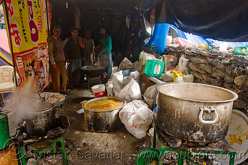 pots of food in langar (free community kitchen) - amarnath yatra (pilgrimage) - kashmir, amarnath yatra, community kitchen, cooking, cooks, food, free kitchen, hiking, hindu pilgrimage, india, kashmir, langar, pilgrim, trekking
